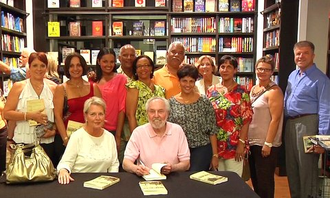 Bo'sun Whittakers Family with David Collins in Books & Books, Camana Bay, Cayman Islands.